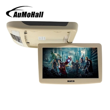 AuMoHall 9 Inch TFT LCD Monitor Car Flip Down Monitor Beige Car Roof Mounted Monitor Car Ceiling Monitor with 2 Video Input 12V