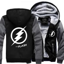 New Arrival The Flash Anime Justice League men sweatshirts 2016 winter thicken man hooded brand-clothing hoodie plus size