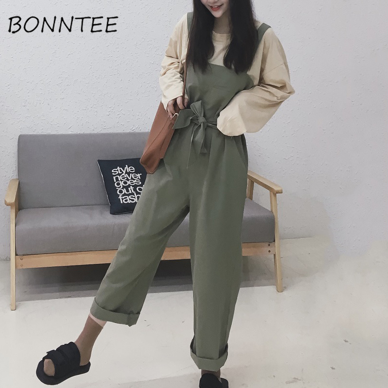 Trendy Daily News: Jumpsuits Female BF Loose Students Solid Lace Up Trendy