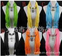 2013 Korean Fashion Scarf Jewelry Pendant Necklace Fashion Womens Soft Scarves Jewellery Scarf Pendant 24