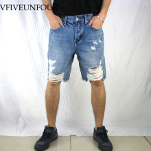 VFIVEUNFOUR Summer Ripped Destroyed Distressed Denim Shorts 2019 Mens Hole Blue Male Hip Hop Fashion Casual Jeans