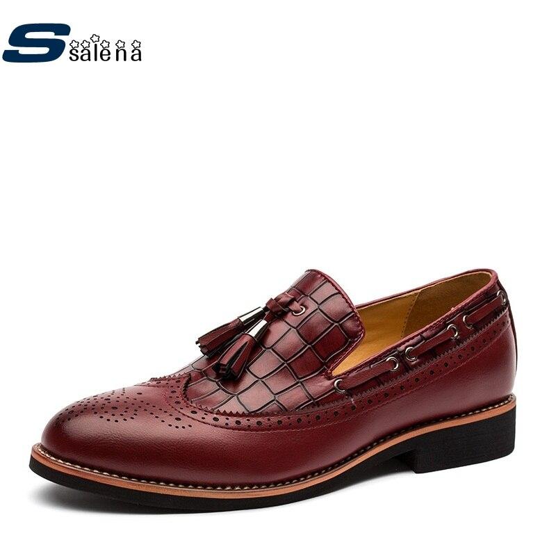 Macio Vinho Casuais Vestido vermelho De Preto Brogue Sapatos Calçado Marca Dos Clássicos cáqui Aa20441 Escuro Homens Luz RqIUwf
