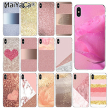MaiYaCa Gold Pink rose Glitter New Arrived High Quality phone case for iPhone 5 5S SE 6 6S Plus 7 8 XR X XS MAX Coque Shell