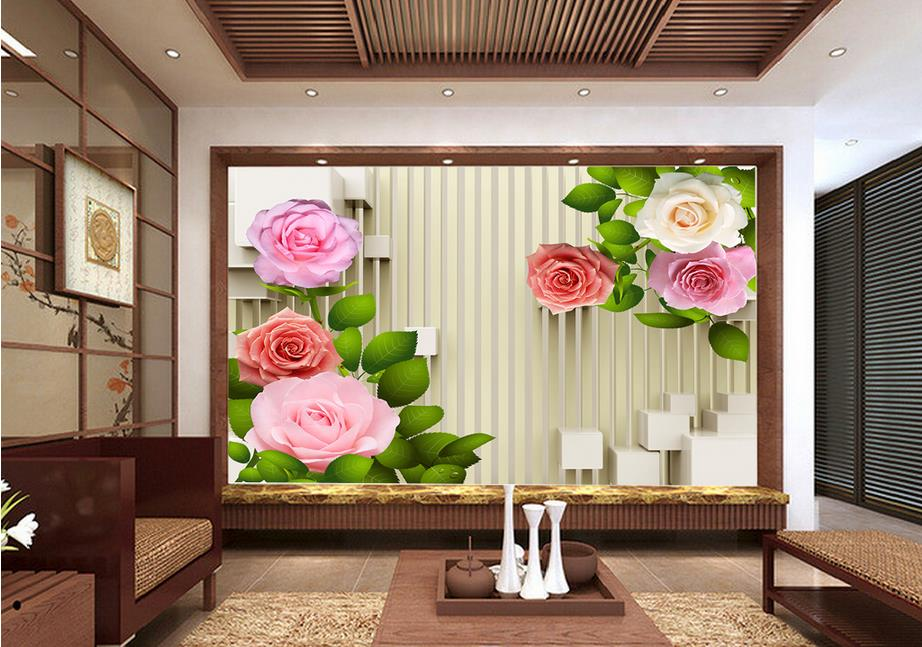 customize 3d wall papers home decor living room Rose green leaves bamboo wallpaper papel de parede do desktop 3d wall panel customize photo wallpaper rose 3d mural wall paper for living room wallpaper tv background home decor papel de parede 3d