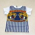 Bobozone tiger head impressão t-shirt de manga curta t-shirt 2017 nova ins para meninos das meninas da roupa do bebê