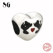 SG Charms Silver 925 Original love Hearts shape pandora luxury charms fit authentic diy bracelets Jewelry making gifts