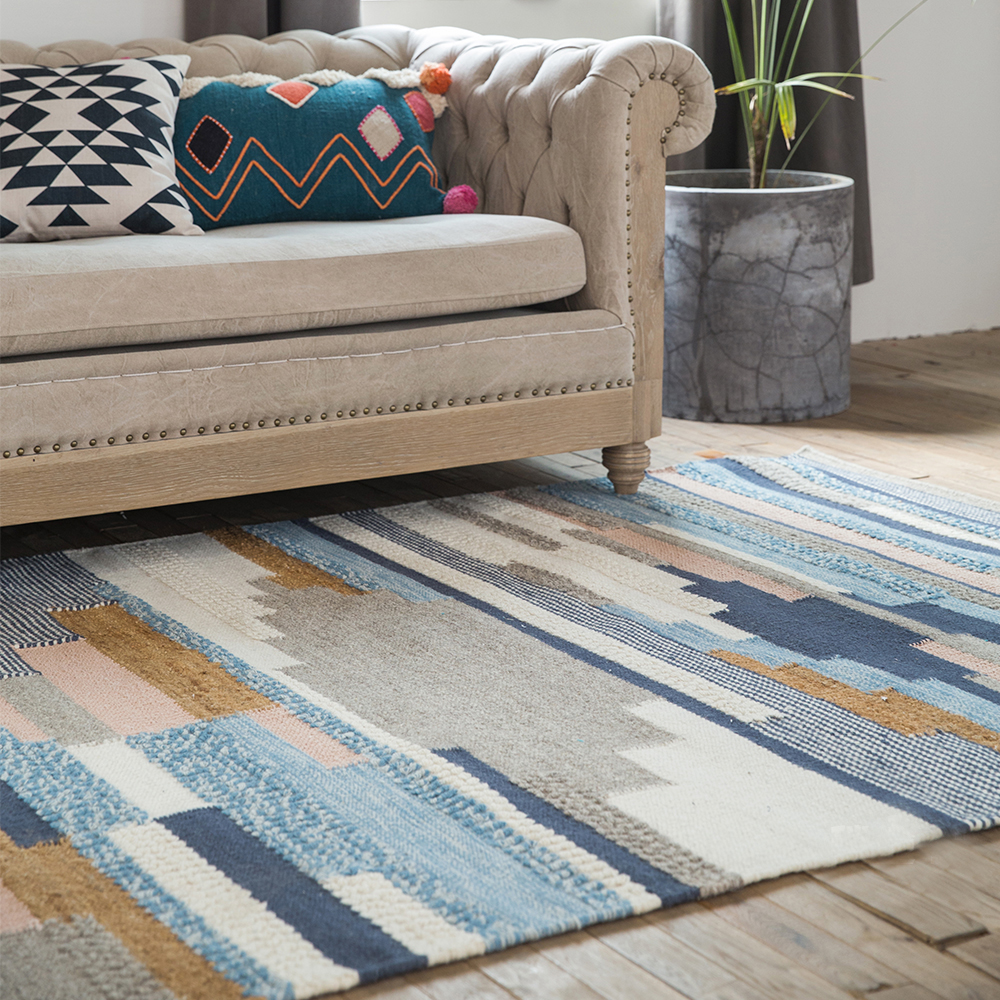 100% laine tapis géométrique bohême indien blanc tapis Plaid rayé moderne contemporain nordique tapis pour salon