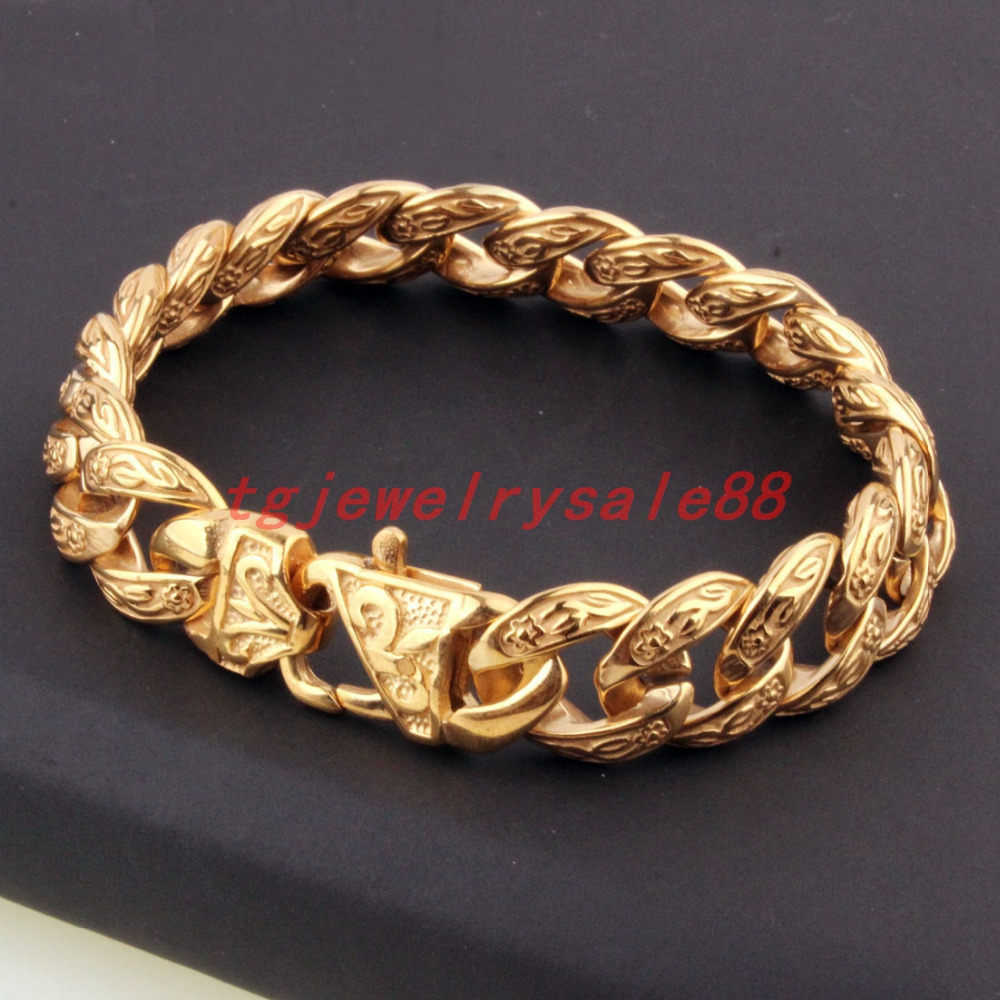 15mm Yellow Gold Tone Mens Stainless Steel Curb Casting Glove Bangle Jewelry 8.66