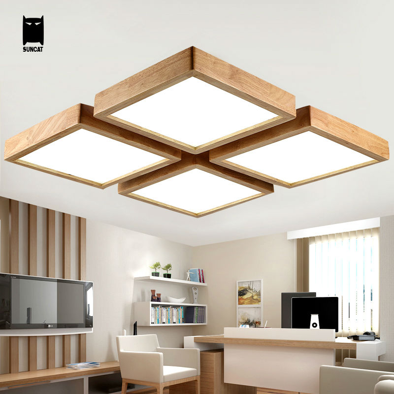 Ceiling Light Japanese: LED Square Oak Wood Acrylic Ceiling Light Fixture Modern