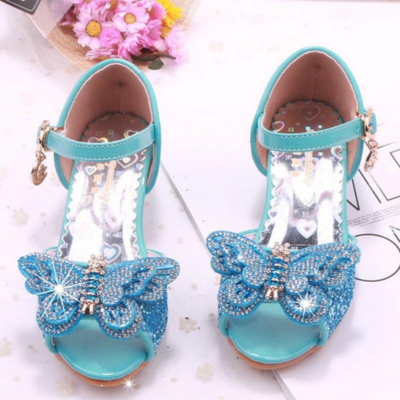 Brand kids girls sandals high heel children shoes summer princess sandal butterfly shoes wedding party shoes dress girl shoe цена 2017