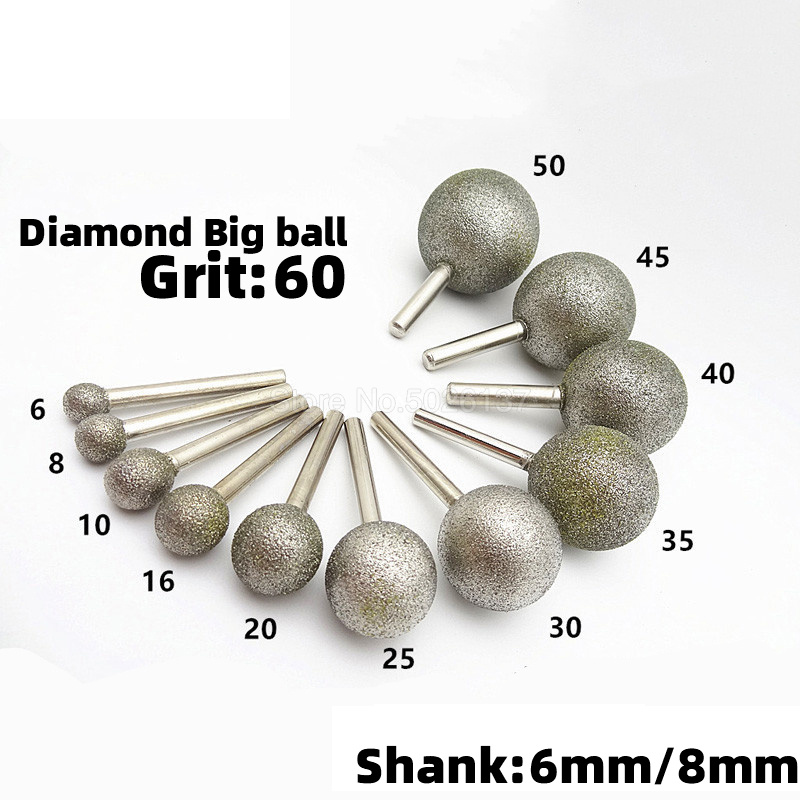 1Pcs 6mm/8mm Shank Spherical Head Diamond Grinding Bit Coated Mounted Points Round Ball Burs Coarse For Stone Drill Metal