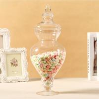 Continental Transparent Glass Candy Jar With Lid Wedding Ceremony Dessert Station Storage Tank Decorative Vase Decoration