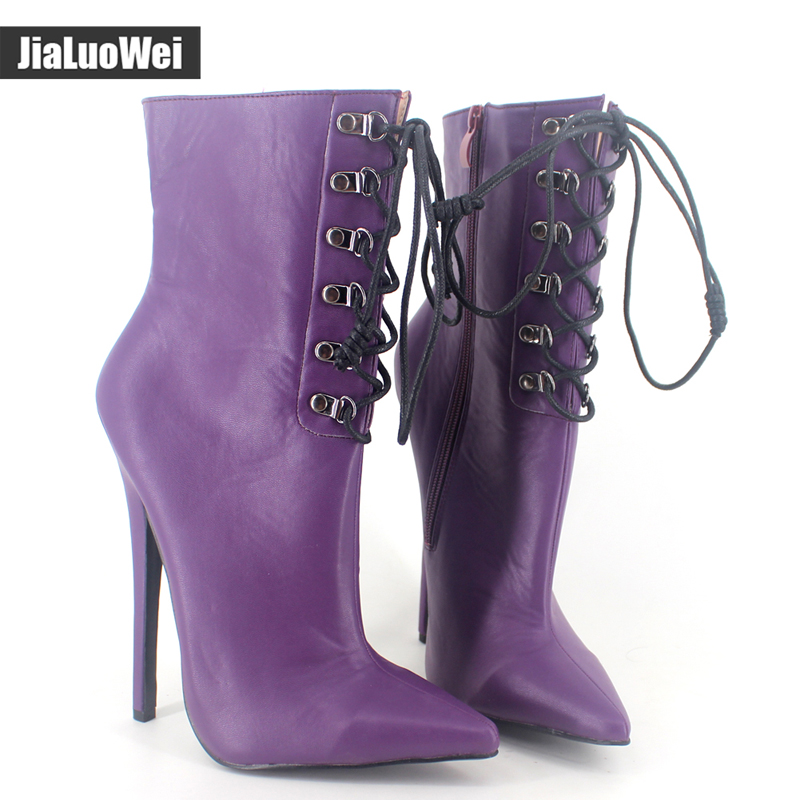 Jialuowei Fashion Ladies Sexy boots Thin high-heeled Pointed Toe shoes Women ankle boots PU leather Zip pointed toe Boots jialuowei women sexy fashion shoes lace up knee high thin high heel platform thigh high boots pointed stiletto zip leather boots