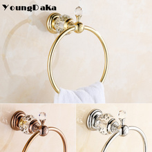 Luxury Crystal Brass Goldle Towel Ring,Towel Holder, Towel Storage Bathroom Accessories Home Decoration Hardware  Free Shipping