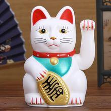 """الصينية فنغ شوي بيكونينغ القط الثروة الأبيض يلوحون ثروة/محظوظ القط 6 """"H الذهب والفضة أفضل هدية ل حسن الحظ كيتي ديكور"""