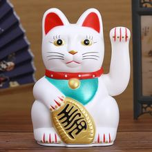 """Chinese Feng Shui Beckoning Cat Wealth White Waving Fortune/ Lucky Cat 6""""H Gold Silver Best Gift for Good Luck Kitty Decor"""