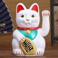 """Chinesische Feng Shui Zuwinken Katze Reichtum Weiß Winken Glück/Glückliche Katze 6 """"H Gold Silber Beste Geschenk für gute Glück Kitty Decor"""