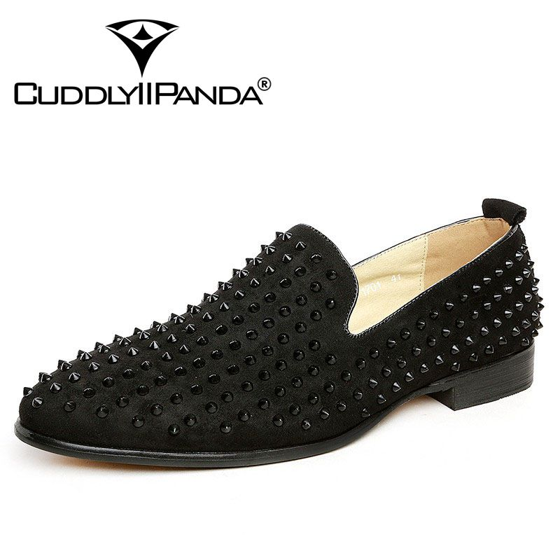 CuddlyIIPanda Top Quality Loafers Men Shoes Fashion Suede Spikes Loafers Rivets Casual Dress Shoes Flats Black Blue Sneaker