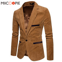 571e1d40618b23 Nuova Moda Uomini Casual Giacca di Velluto A Coste Patchwork Mens Business  One Button Slim Fit