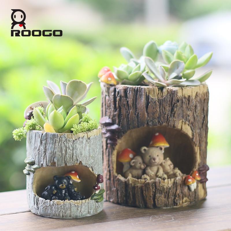 ROOGO 4 Дерево отверстие кашпо горшки животных смолы горшок украшения сада сочные Карликовые деревья растения Цветочный горшок для детского подарка