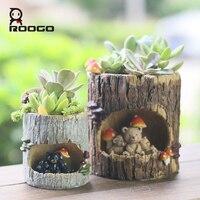 Roogo 4 Ağaç Delik Ekici Hayvan tencere Reçine Saksı Bahçe Dekorasyon çocuk hediye için Etli Bonsai Bitkiler Saksı