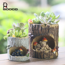 Roogo 8 Tree Hole Planter Resin Flowerpot Hot Sale Kawaii Garden Decoracion Plants Succulent Jardin Bonsai Plants Flower Pot