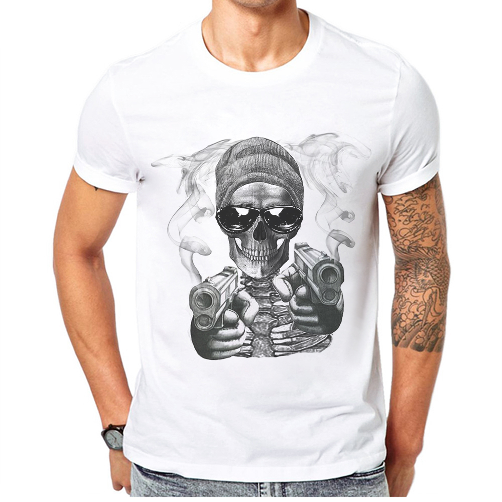 2019 Limited Time Discount F Skull Men T-Shirt Cotton Short Sleeve Mens Clothing Fashion Hipster Hip Hop Style Man T Shirt