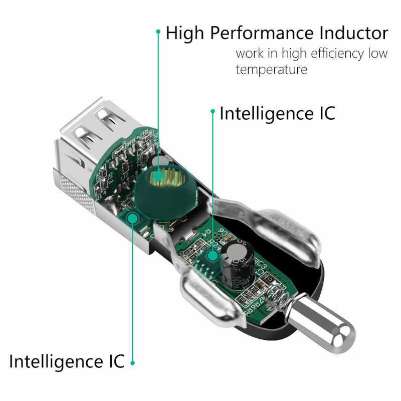 Mambaman מנוע מתכת 2 USB מטען לרכב עבור iPhone סמסונג LED 2.1A אלומיניום סגסוגת רכב-מטען טלפון רכב טעינה מתאם