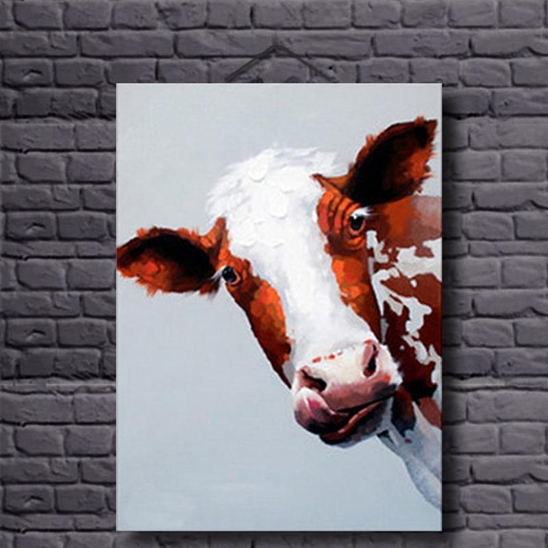 Kráva olejomalba Ručně malované obrazy zvířat plátno malování pro obývací pokoj dekorace Moderní zvíře kráva nástěnné umění domácí dekor