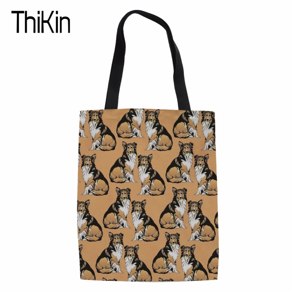 THIKIN Travel Handbags Canvas Tote Casual Beach Bags Large Foldable 3D COLLIE Grocery Bags Reusable Supermarket Shopping Bag