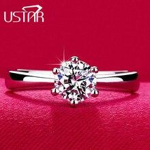 USTAR, классические кольца с шестью когтями, 1 карат, 6 мм, циркон, обручальные кольца для женщин, ювелирные изделия серебряного цвета, обручальные кольца для женщин, Anel Bijoux, подарок