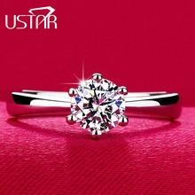 Карат шесть анель алмазные коготь обручальные bijoux cz посеребренная классический кольца