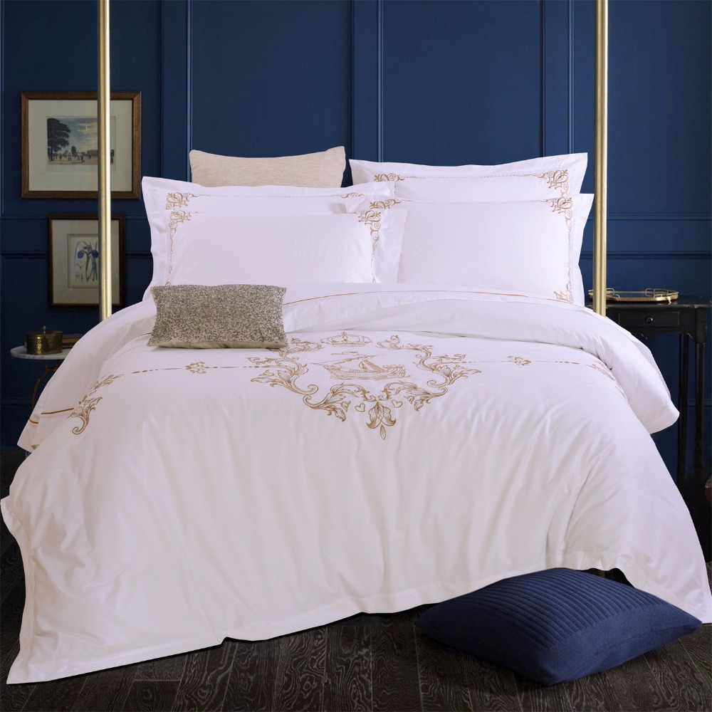 Tiibute Silk White Embroidery 100 Cotton Bedding Set Luxury Hotel Duvet Cover Sail Queen King Size Bedclothes Bed Linen In Sets From Home