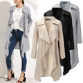 Mulheres De Longo Trench Coat 2016 Outono Moda Feminina Turn-down Collar Manga Comprida Outwear Blusão Longo Casaco