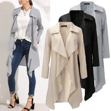 Women Long Trench Coat 2016 Autumn Fashion Ladies Turn-down Collar Long Sleeve Windbreaker Outwear Long Overcoat
