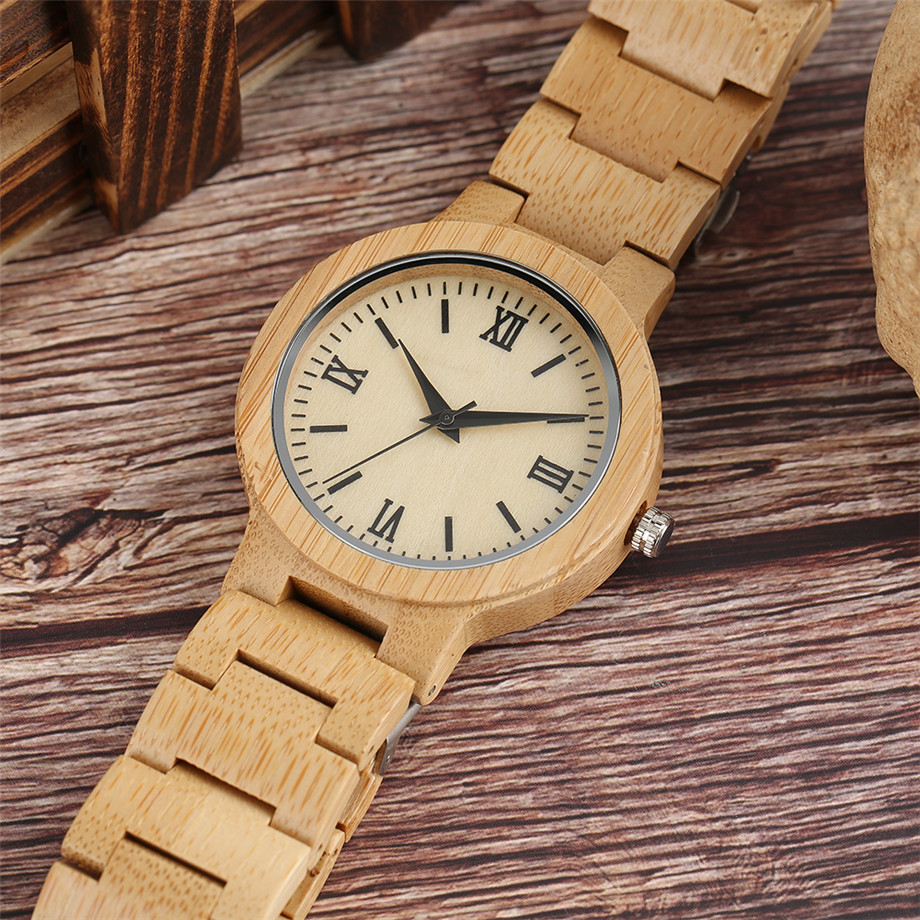 Bamboo zebra wood watch roman numerals dial ladies watch11