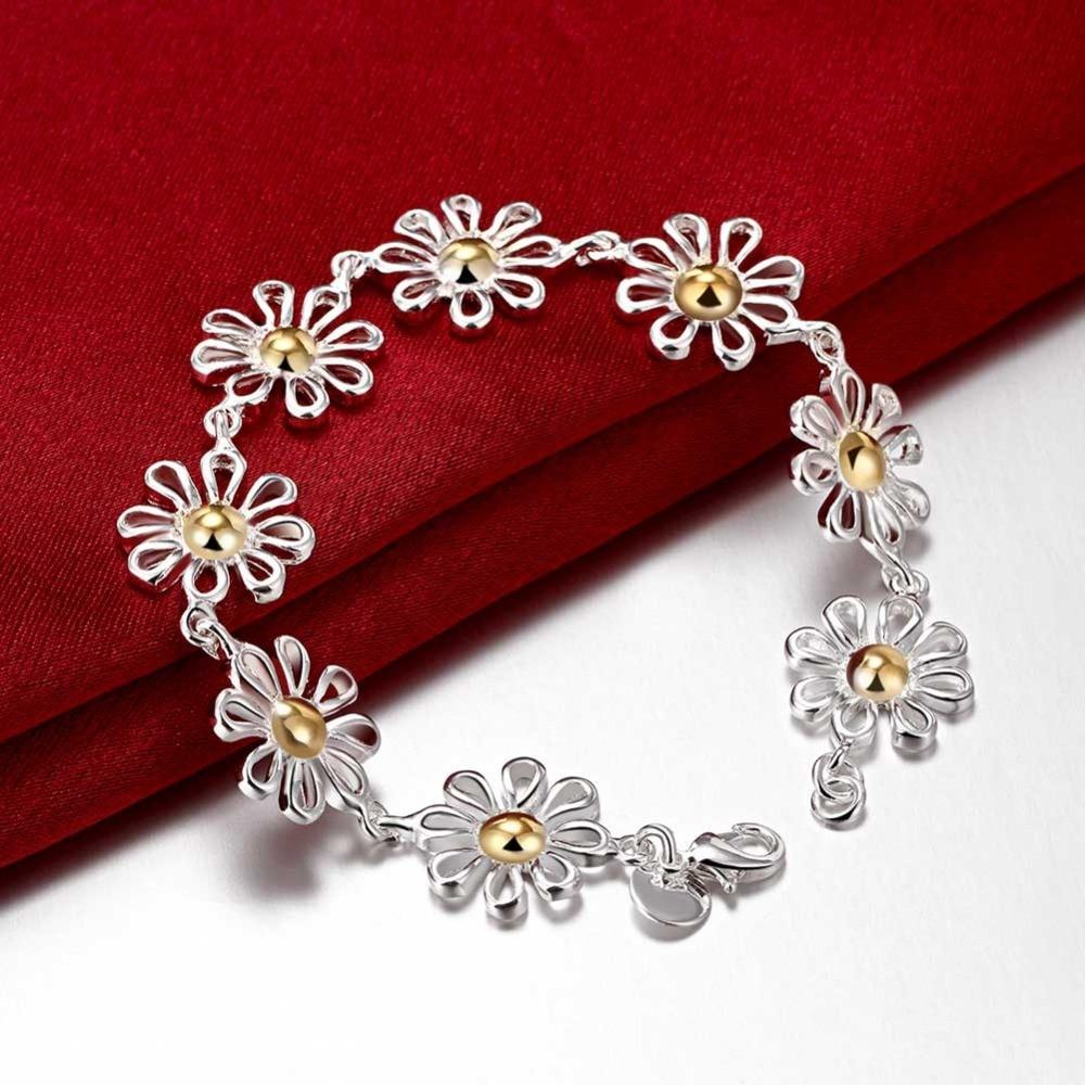 938401a5a0af Lujo pulsera de plata Pulsera de moda flor regalo de boda de Navidad de las  mujeres joyería al por mayor