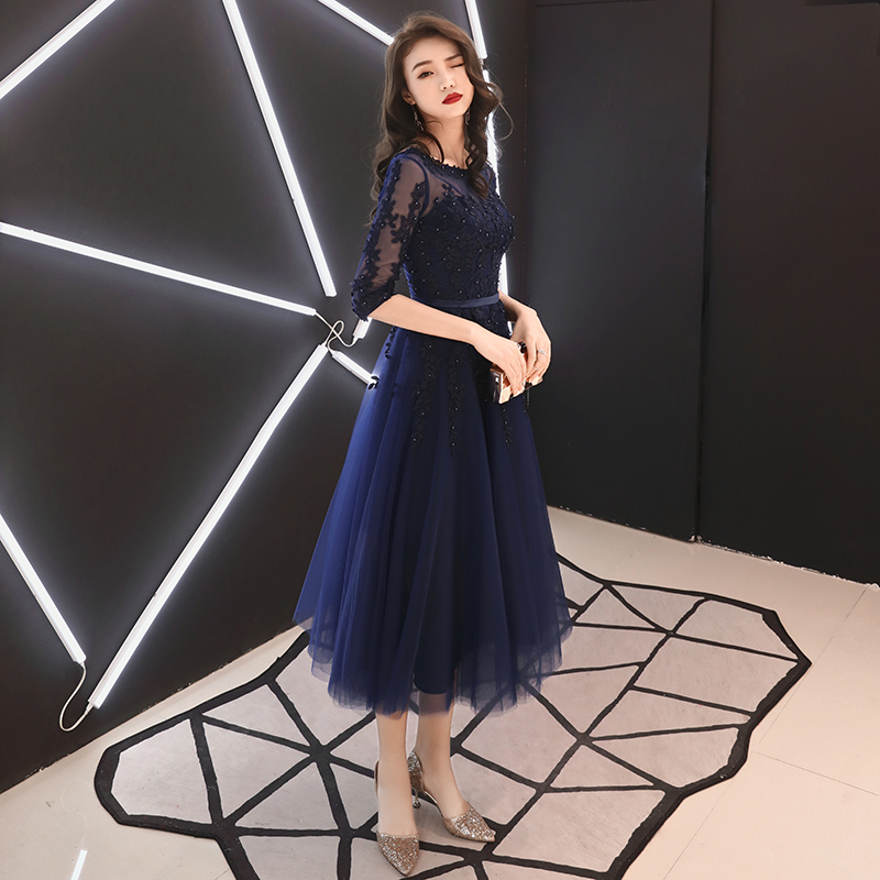 Navy Blue Formal Evening Gown With Half Sleeves Luxury Lace Appliques Beading Tea Length Mother Of The Bride Dresses Plus Size in Evening Dresses from Weddings Events