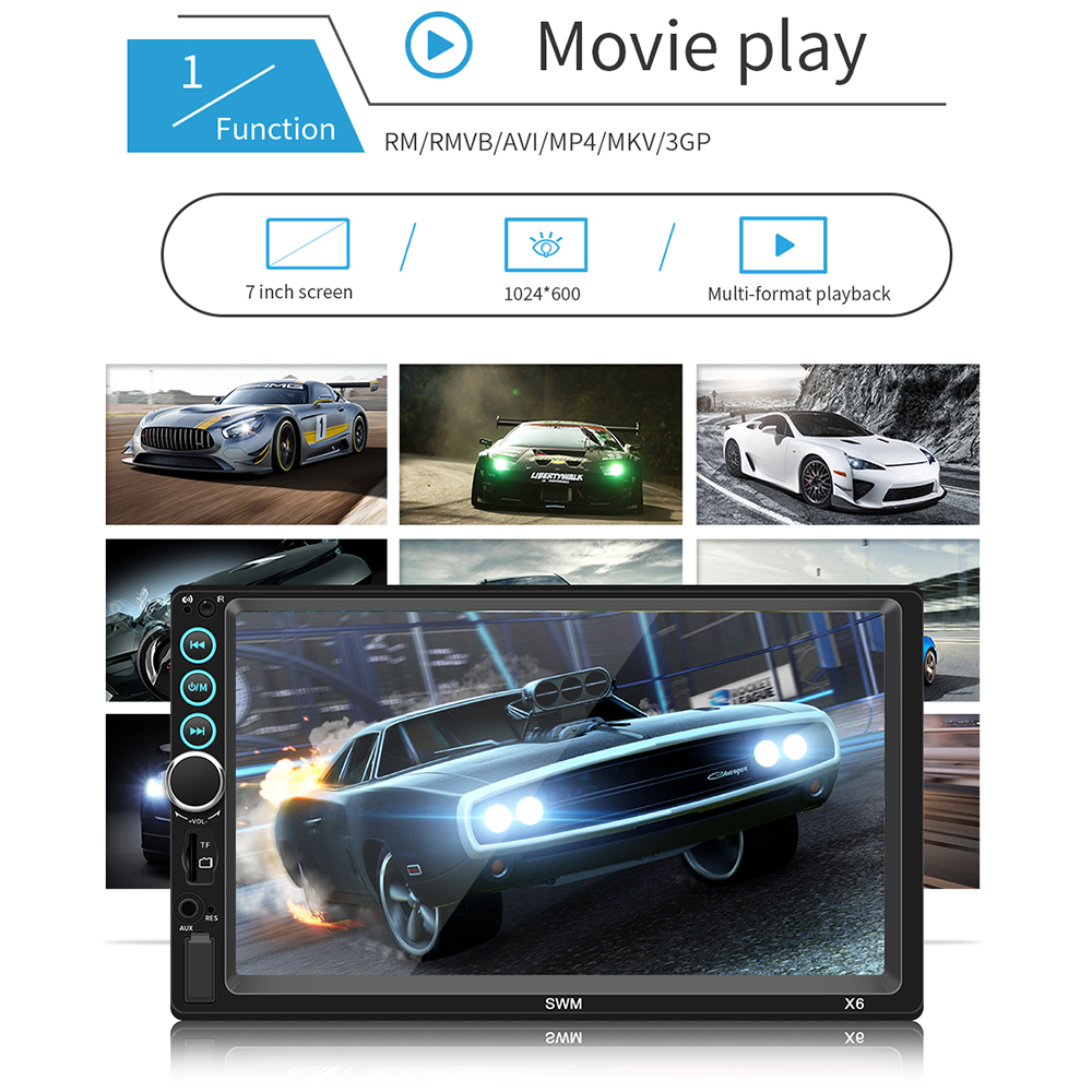 "Image 3 - 7"" 12V HD Screen Bluetooth Car MP5 Player Video Audio FM Radio Rearview Camera Phone Connect Car Displayer with Colorful Light-in Car MP4 & MP5 Players from Automobiles & Motorcycles"