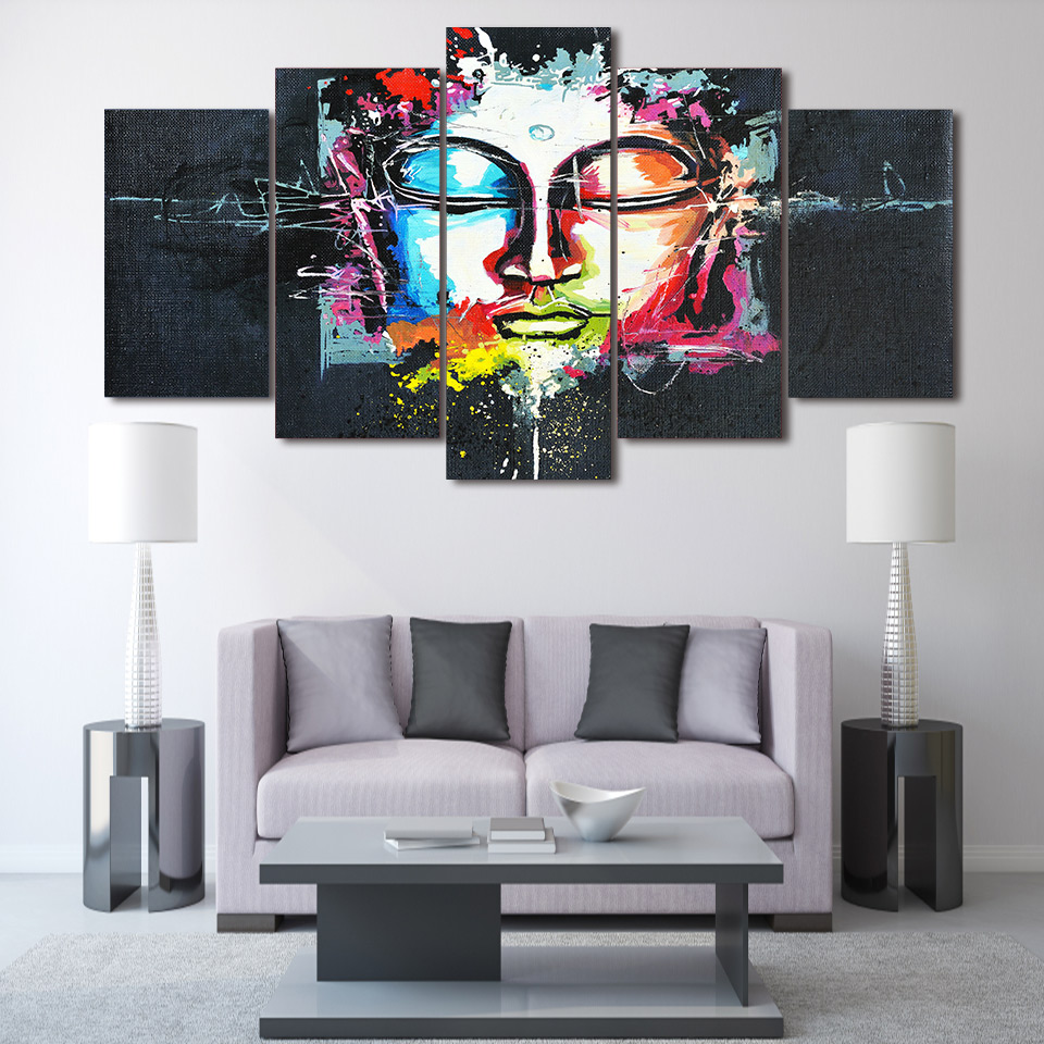 HD 5 piece canvas art Buddha Painting on canvas room home decoration wall art print poster picture canvas Free shipping/ny-2681