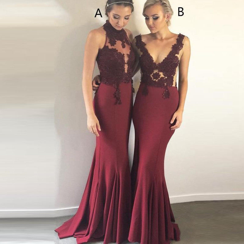 2019 Burgundy   Dress   High Neck Satin Mermaid Long   Bridesmaid     Dresses   Lace Applique Wedding Bridal Guest Party Maid Of Honor