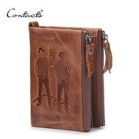 CONTACT S Men Wallets Top Genuine Cow Leather Vintage Design Purse Men Brand Famous Card Holder