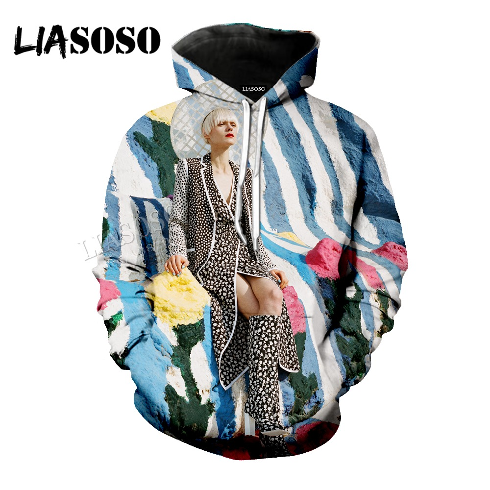 LIASOSO printing Hat coat neutral casual pullover long-sleeved flowers 3D printing contrast color sweatshirt CX009