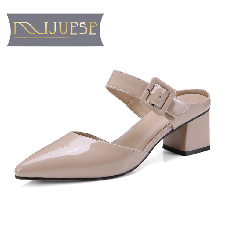 MLJUESE 2018 women slippers summer Genuine leather slip on pointed toe Maryjanes pink color pumps slides sandals women mules flats slippers suede pink sandals mary jane genuine leather pointy summer slides designer shoes women luxury 2018 mules gray
