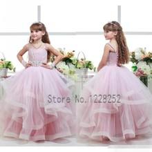 2016 New Lovely Pink Flower Girls Dresses Ball Gowns Communion Pleats Ruffles Beaded 2016 Girls Kids Party Dresss