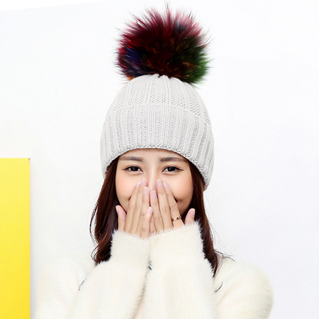 6039ef89ecb Fashion Women s Winter Hat Faux Fur Pompom Ball Knitted Beanies Cap ...