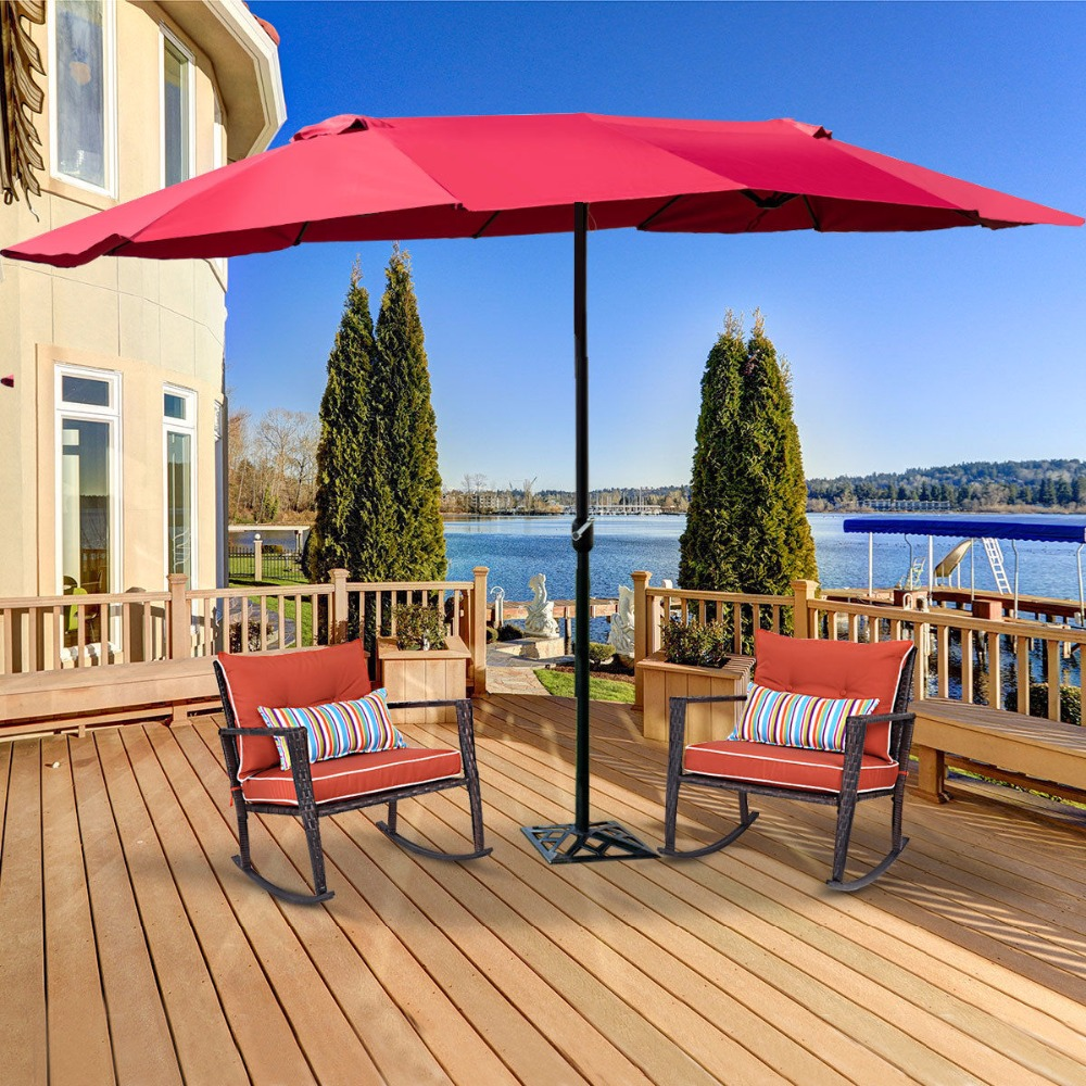 Giantex 15' Market Outdoor Umbrella Double-Sided Twin Patio Umbrella With Crank Outdoor Furniture OP3703