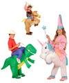 Navidad Traje Del Carnaval Disfraces de Animales Dinosaurio Inflable Vaquero Traje Unicornio Purim de Halloween del Día de Los Niños para Los Niños