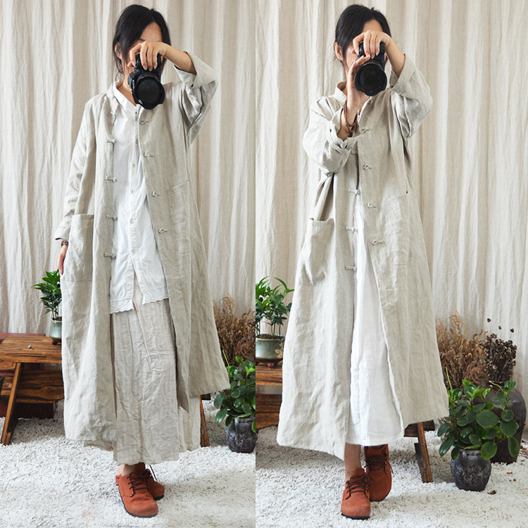 Women Handmade Button Retro Solid Color Chinese Style Trench Coat Outwear Ladies Long Ovetcoat Female Vintage