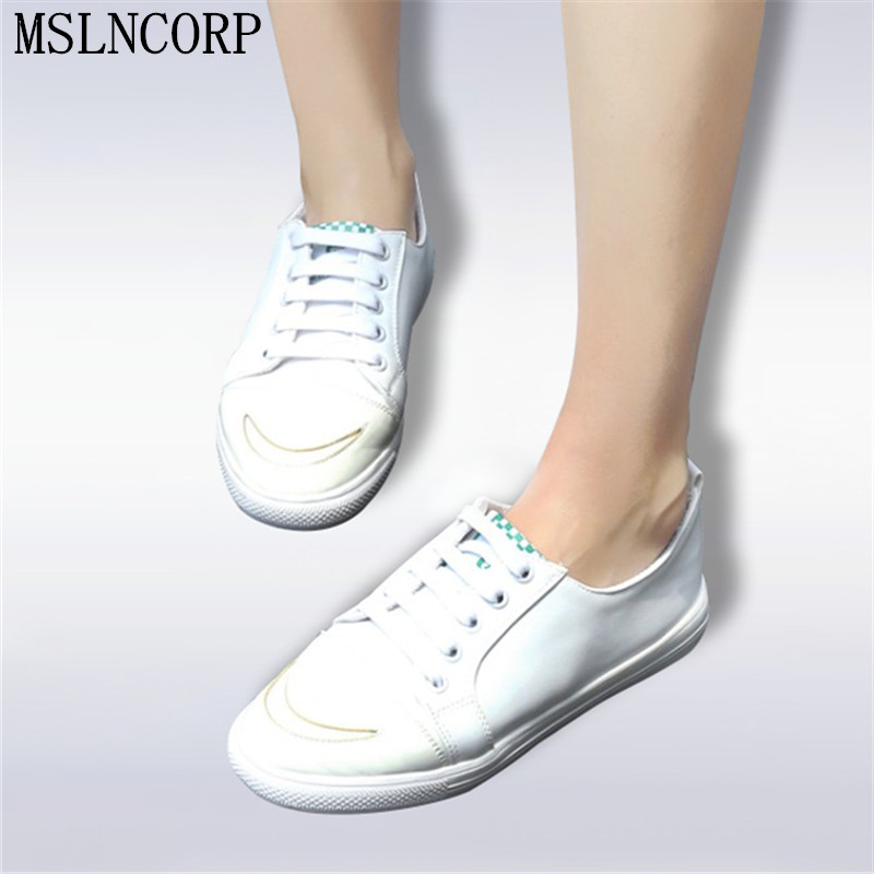 Plus Size 34-46 Spring Autumn Women Comfortably Lace up Flats Shoes Fashion Casual Shoes cute Girls Student White Sneakers shoes plus size 34 41 black khaki lace bow flats shoes for womens ds219 fashion round toe bowtie sweet spring summer fall flats shoes